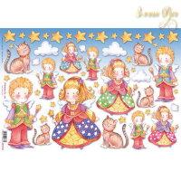 Рисовая Декупажная карта, Stamperia, 48x33Дети, Ангелы и кот