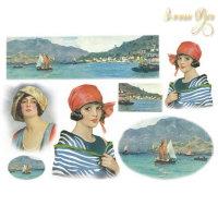 Рисовая Декупажная карта, Stamperia, 48x33 Портрет женщины
