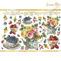 Декупажная карта рисовая, золотой бордюр, Stamperia, 48х33 Чайник с цветами